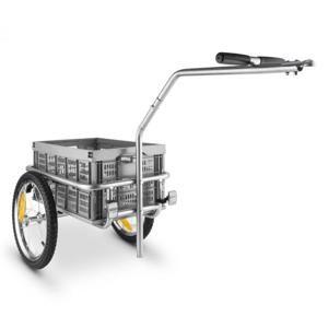 DURAMAXX BigBig Box, príves na bicykel, ručný vozík, vysoké oje, 40 l, 40 kg, sivý