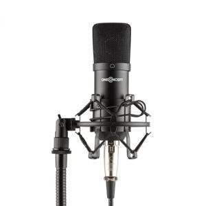 OneConcept Mic-700, štúdiový mikrofón, Ø 34 mm, kardioidný, pavúk, ochrana proti vetru, XLR, čierny