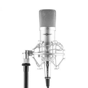 OneConcept Mic-700, štúdiový mikrofón, Ø 34 mm, kardioidný, pavúk, ochrana proti vetru, XLR, strieborný