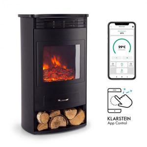 Klarstein Bormio Smart, elektrický krb, 950/1900 W, termostat, týždenný časovač, čierny