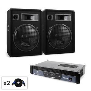 DJ PA sada Malone Boom, zosilňovač, reproduktor & kábel, 1200 W